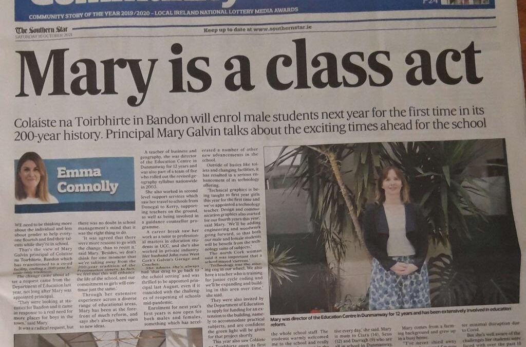 Ms. Galvin's interview in the Southern Star